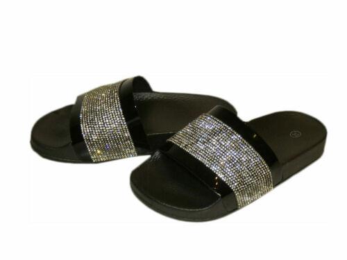 Kinder Pantolette Sandalen Schlappen Flach Sommer Schuhe W-05 Strass