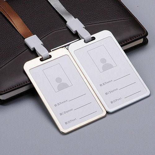 Aluminum Alloy Metal Business Work Card ID Badge Holder Lanyard Display Case -UK
