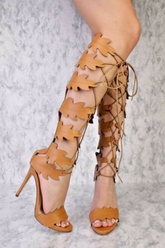 Nude Pink CUTOUT DETAIL THIGH HIGH HEELS BOOTS FAUX SUEDE LEATHER Fashion Shoes