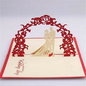 Red Unique Design 3d Bride Groom Wedding Invitation Cards With
