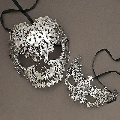 Silver Full Face Metal Evil Skull & Venetian Masquerade Eye Masks