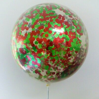 Christmas Confetti Balloon Giant metallic red green 90cm 36inch clear NEW