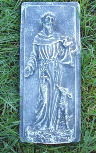 Plaster concrete mold mould Saint Francis plaque plastic mold