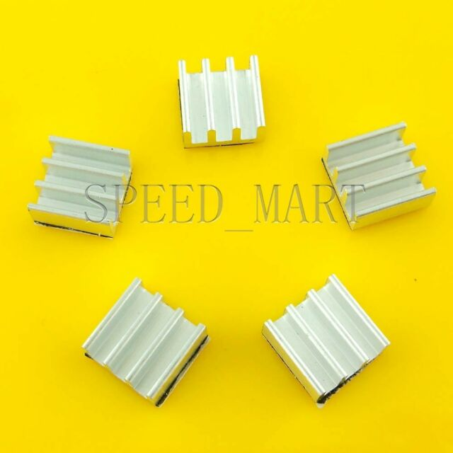 NEW 5pcs Aluminum Heat Sink with Thermal Adhesive for Memory Chip IC 11*11*5mm