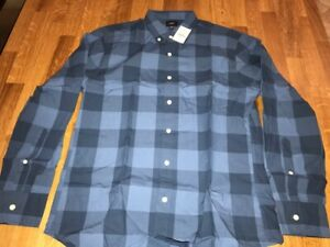 New with tags J.Crew cotton blue plaid cotton button-down shirt men's size M $90