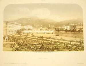 Litografia Di Jacques Buona (1810-1876) Vista Del Jardin Public Di Nice C 1850