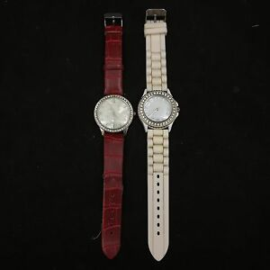 PAIR-2-WOMENS-WRISTWATCHES-SILICONE-WHITE-RED-FAUX-SNAKESKIN-BLAIR-RHINESTONES
