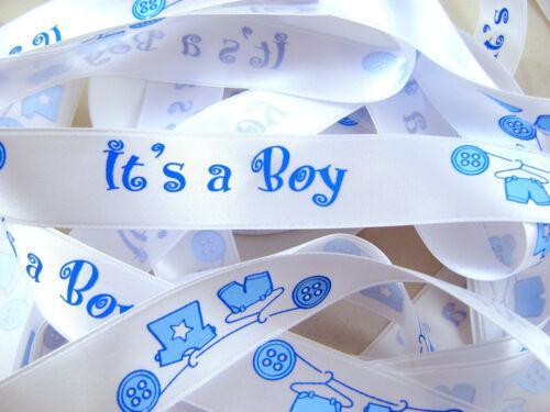 Es Hat A Boy es Hat A Girl 15mm /& 25mm Beidseitig Satin Feier Band