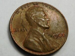 1966  P  LINCOLN  Cent (OBV  LAMINATION  ERROR  WITH  PEEL  #T66P
