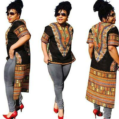 Fashion Women Short Sleeve Traditional African Print Irregular Split Party Dress