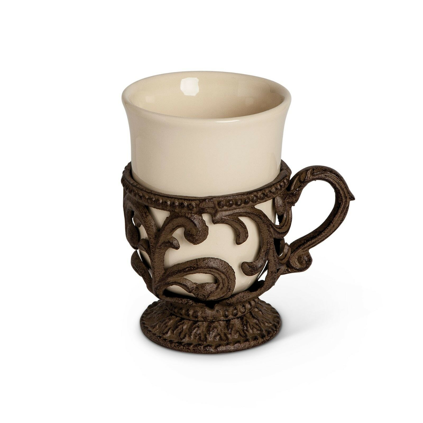GG Collection Gracious Goods 9oz Acanthus Cup with Metal Holder, Set of 4