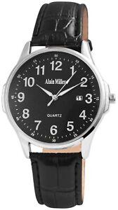 Alain-Miller-Herrenuhr-Schwarz-Analog-Datum-Kunst-Leder-Armbanduhr-X-2900139-001