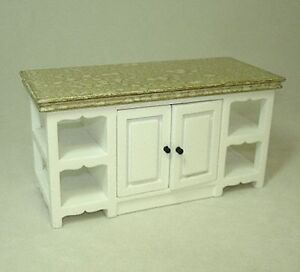 Dollhouse Kitchen Island White with Marbled Top 1:12 Miniatures for Doll House