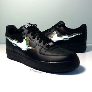 cheaper 5c62a de570 Image is loading HAND-PAINTED-CUSTOMISED-3D-NIKE-GLITCH-AIR-FORCE-