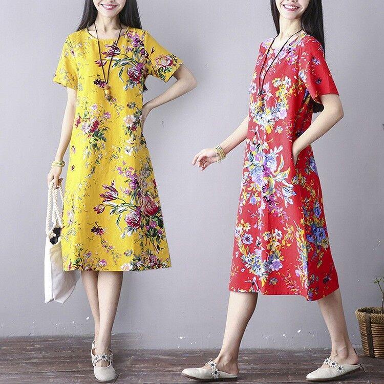 Vintage Summer Women's Floral Cotton Linen Short Sleeve Robes Long Shirt Dress