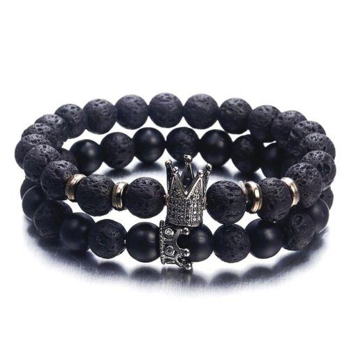 Armband Perlen Lava Stein Krone King Queen Lavastein Perlenarmband Neu Dehnbar