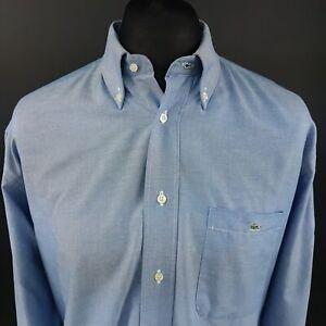 Lacoste-Mens-Vintage-OXFORD-SHIRT-2XL-Long-Sleeve-Blue-Regular-Fit-Cotton