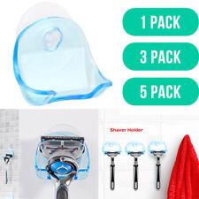1//3//5pcs Shaver Holder Washroom High Power Suction Cup Hook Razor Bathroom Blue