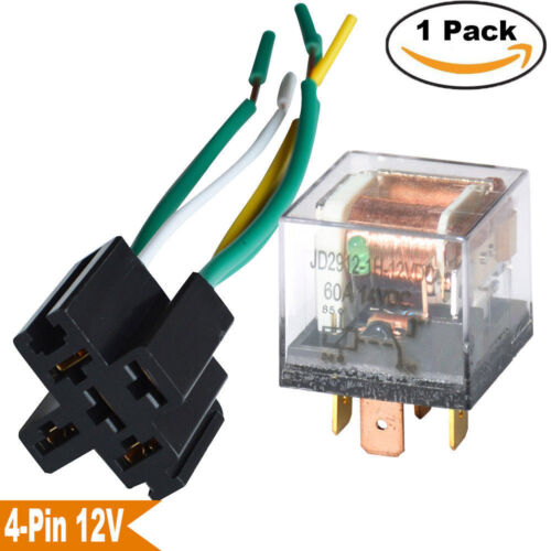 Automotive Relay DC 12V 60A 4 Pin w// Wired Socket SPST Waterproof Normal Open US