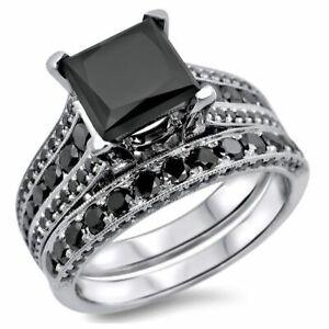 Jewelry & Watches Blue Diamond Bridal Set 3.34 Ct Princess Diamond Ring New Handmade @