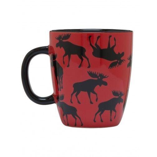 Hatley Ceramic MOOSE ON RED Coffee Mug or Tea Cup