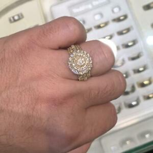 10k Yellow Gold Ring Set With 1.50ct of Diamonds 15mm wide Canada Preview