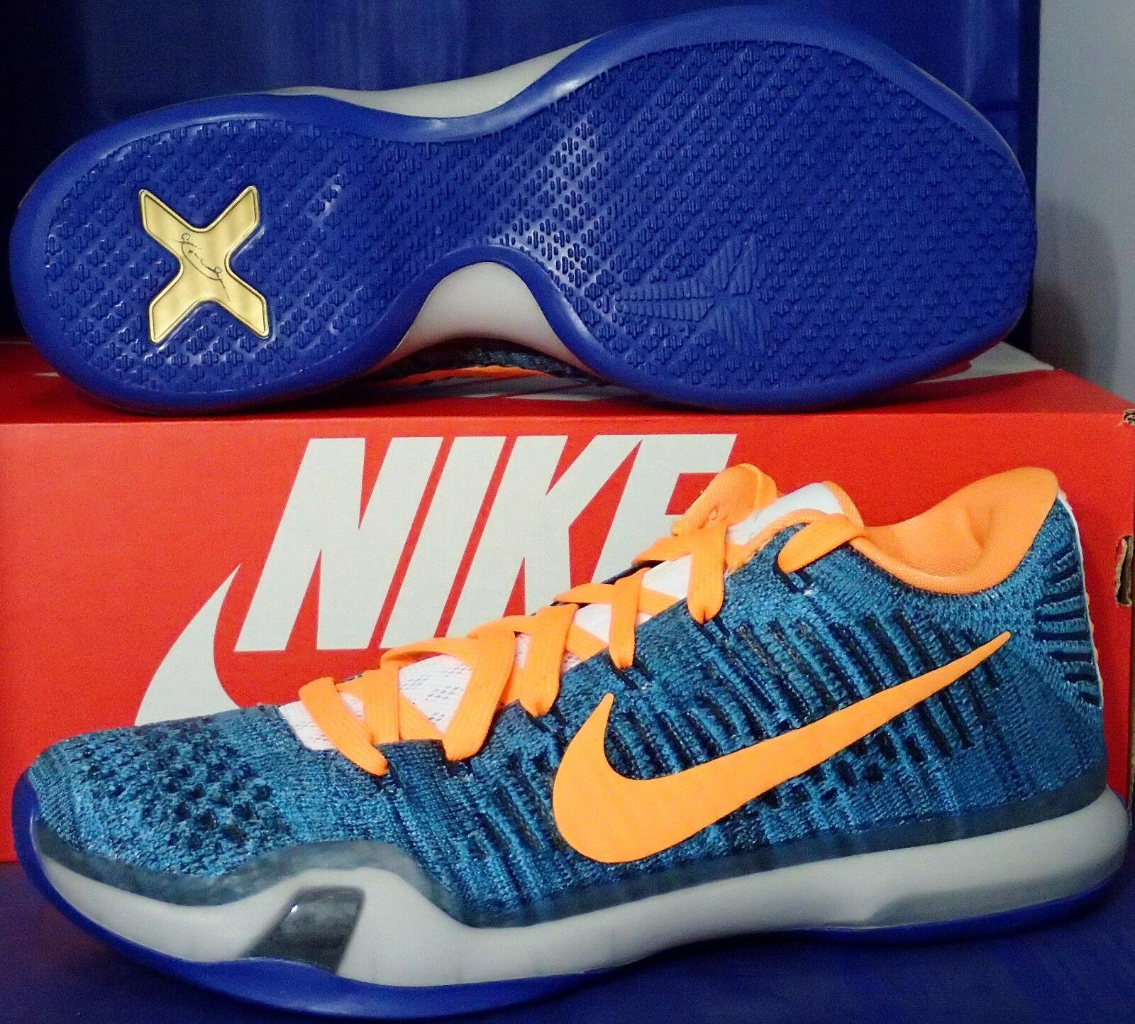 Nike Kobe X 10 Elite Low Flyknit iD bluee orange Knicks Gators SZ 8 (802817-991)