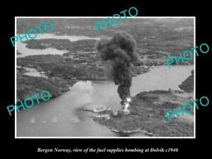 OLD-POSTCARD-SIZE-PHOTO-BERGEN-NORWAY-DOLVIK-FUEL-STATION-BOMBING-WWII-c1940