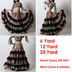 White Satin 25 Yard 5 Tiered Gypsy Skirt Belly Dance Gothic Flamenco Black