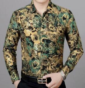 Moda-para-Hombre-de-Lujo-informal-mangas-largas-de-estilo-y-Calce-Ajustado-Informal-Camisas-de