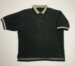Vtg-Nike-Golf-Mens-Polo-Shirt-Sz-Large-90s-Grey-Black-Embroidered-Dri-Fit-B6