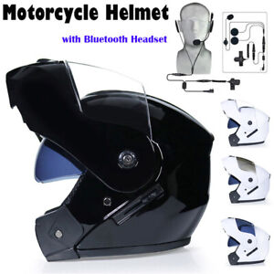 Bluetooth Headset Motorcycle Helmet Full Face Dual Visor Modular Flip Up Scooter