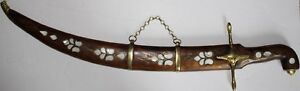 29-034-Long-Handmade-Mother-Of-Pearl-amp-Brass-Inlaid-Wood-Decorative-Dagger-Sword