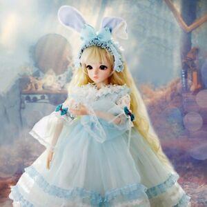 FULL-SET-BJD-Doll-Puppe-24-034-1-3-Maedchen-Puppe-mit-Peruecke-Kleidung-Make-up-Augen