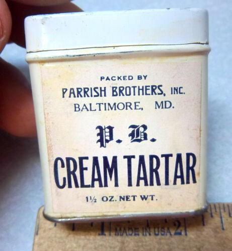 new old stock Vintage 1930s PB Parrish Brothers tartar 1.5 oz Spice tin FULL