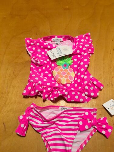 $24 Infant Girls flapdoodles 2 Pc pineapple bathing suit size 12 months P135 Y