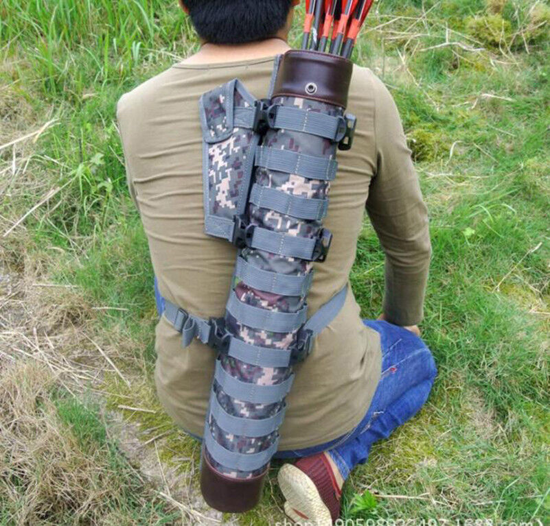 Hunting Whole True Leather Arrow Quiver with Molle System Bag for Bow Hunting
