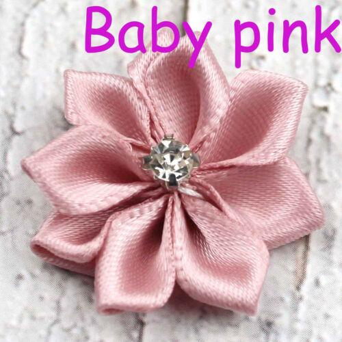 DIY 12-120PCS Satin Ribbon Flower with Crystal Bead Appliques 30 mm~Craft//Trim
