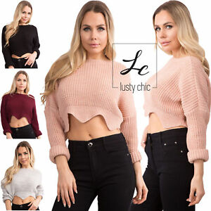 c8ac98eeff468 WOMEN S CROPPED KNITTED SWEATER Ladies Loose Long Sleeve Casual ...