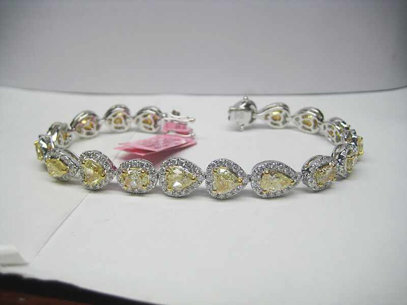 12.84CTW Natural Fancy Yellow Diamond Bracelet 18K White gold