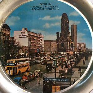 "Berlin Germany Vtg Souvenir Plate 11"" Mid Century Photo VW Kaiser Wilhelm Metal"