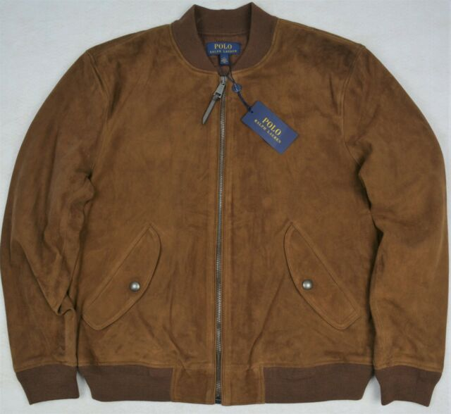 Lauren Jacket Xl Bomber Polo Suede Country Ralph Size Brown QChBdxtrs
