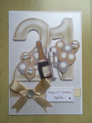 De Luxe Fait à la main 21st Carte d/'anniversaire-peut être Personnalisé-Toute relative//Ami