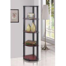 Home Decor 5 Tier Corner Rack Display Wall Shelves Storage Dark Cherry Black