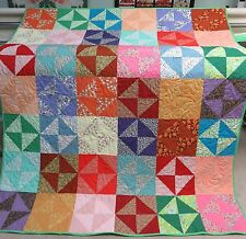 """USA Handmade Full Quilt-Broken Dishes Patchwork- Multi Color 68"""" x 80"""""""