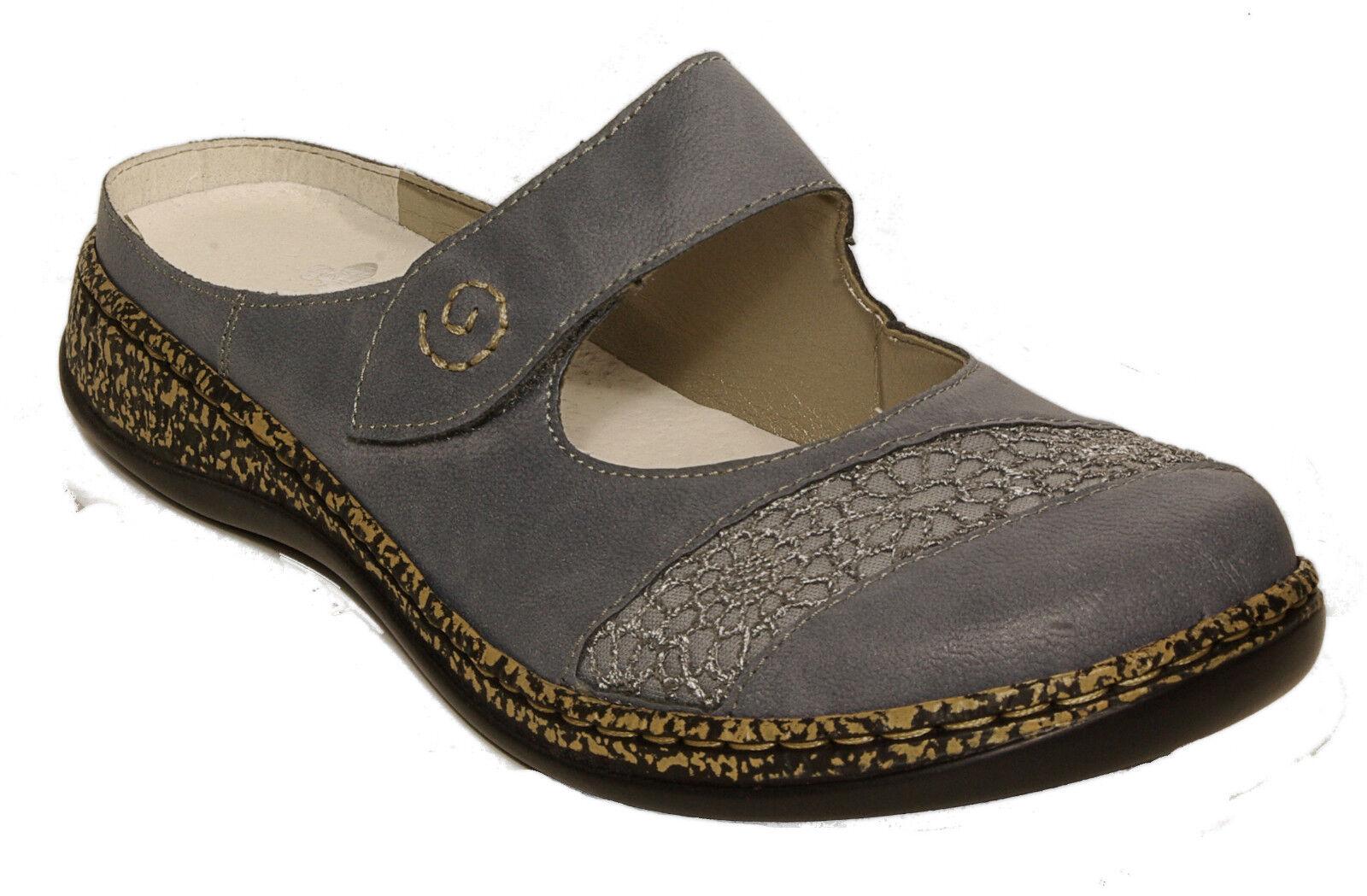 Rieker zapatos de moda sandalias estorbos azul velcro nuevo