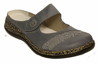 RIEKER Schuhe modische Pantoletten Latschen graubraun