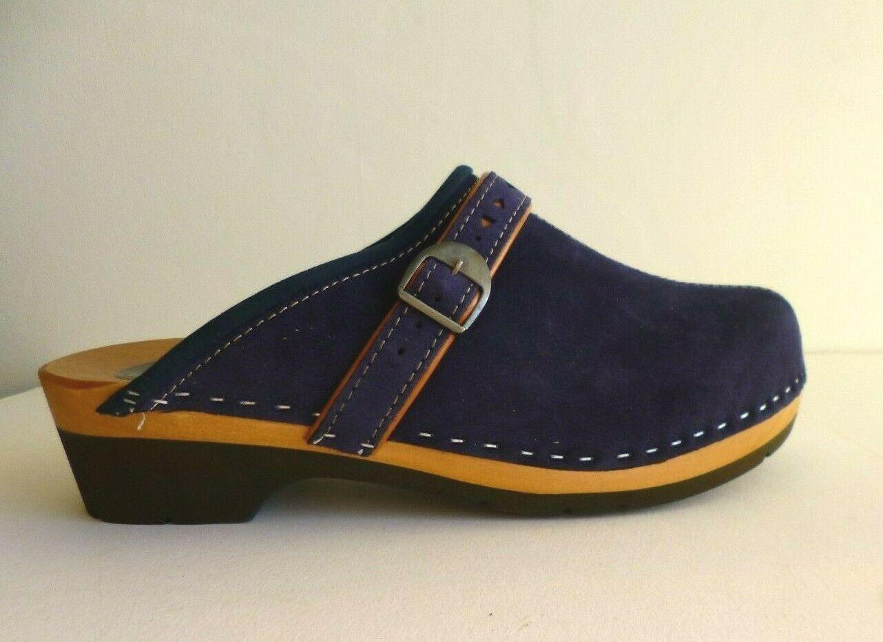 UK 6.5 (Euro 40) Blue Suede Natural Leather Orthopedic Clogs - Unworn