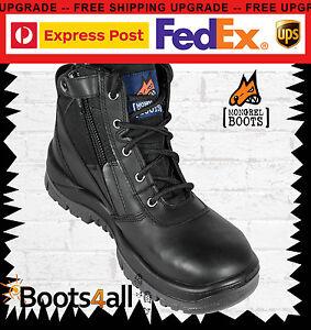 Mongrel-Womens-Work-Boots-Black-Safety-Steel-Toe-Cap-ZIP-Side-Lightweight-261020