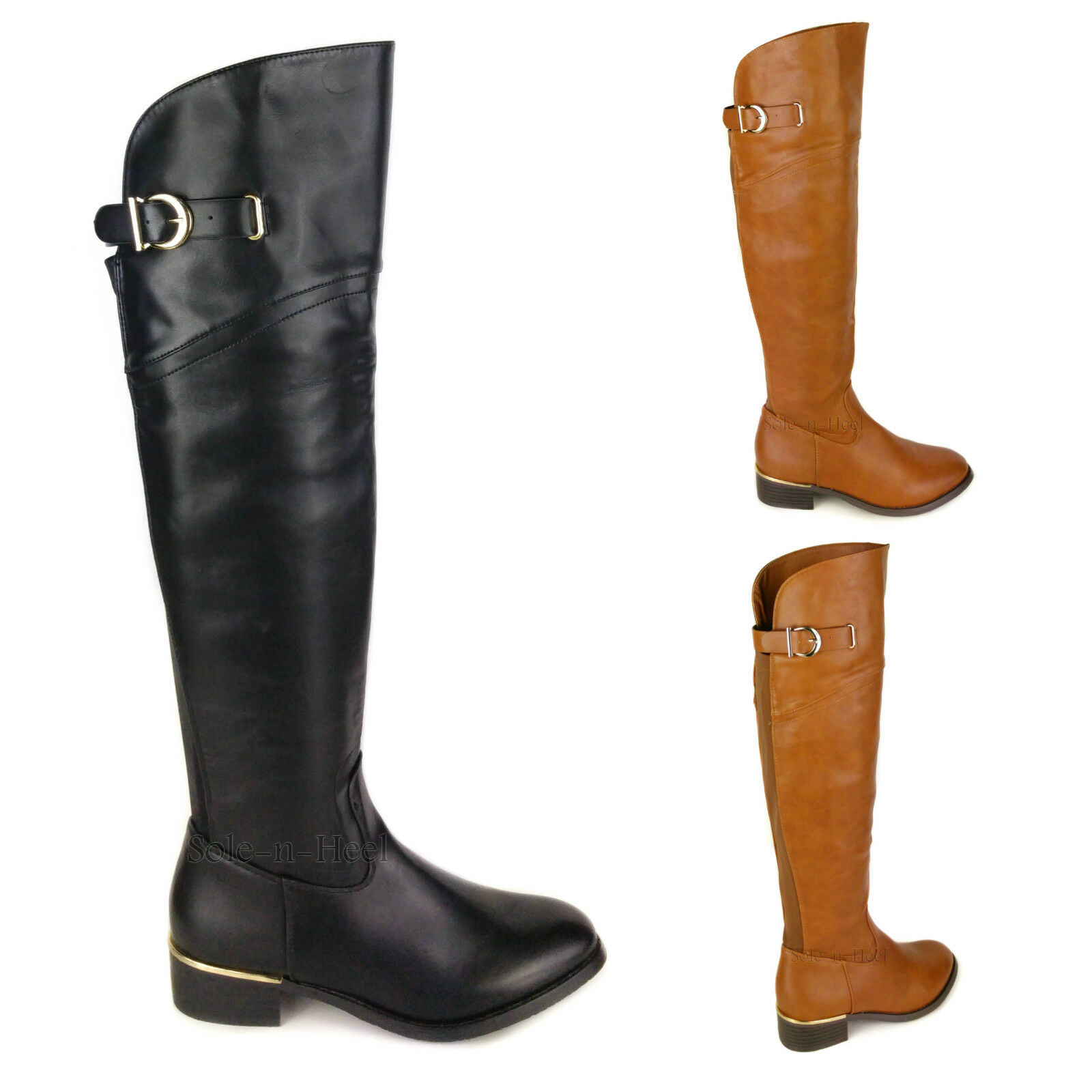 WOMENS LADIES FLAT LOW HEEL OVER THE KNEE THIGH HIGH WIDE CALF RIDING BOOTS SIZE